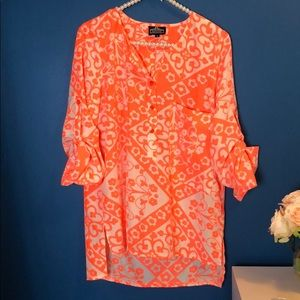 Angie White and Neon Orange Patterned Top